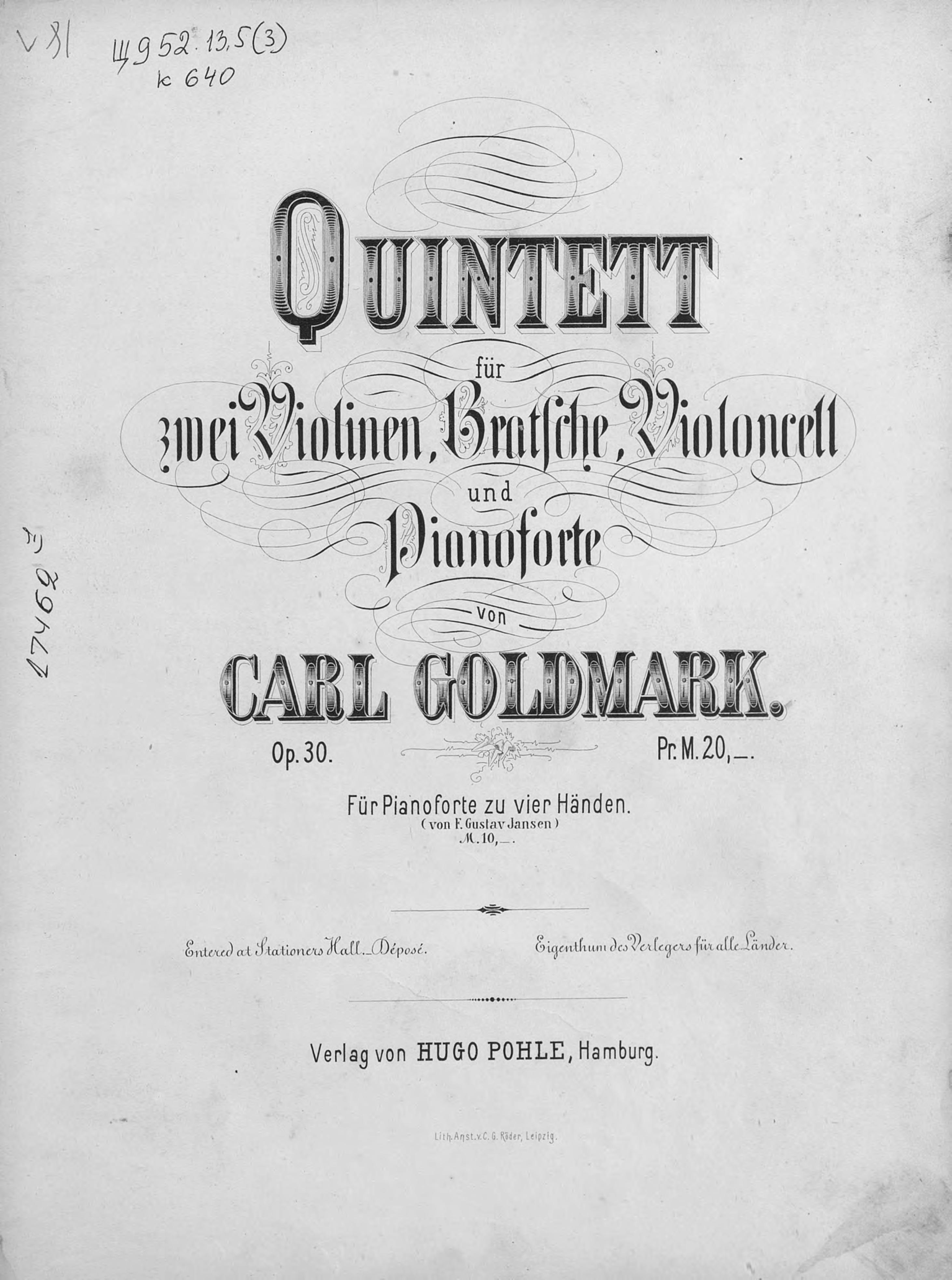 Quintett fur 2 Violinen, Bratsche, Violoncell und Pianoforte v. Carl Goldmark