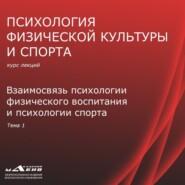 Лекция 1. Взаимосвязь психологии ФВ и психологии спорта