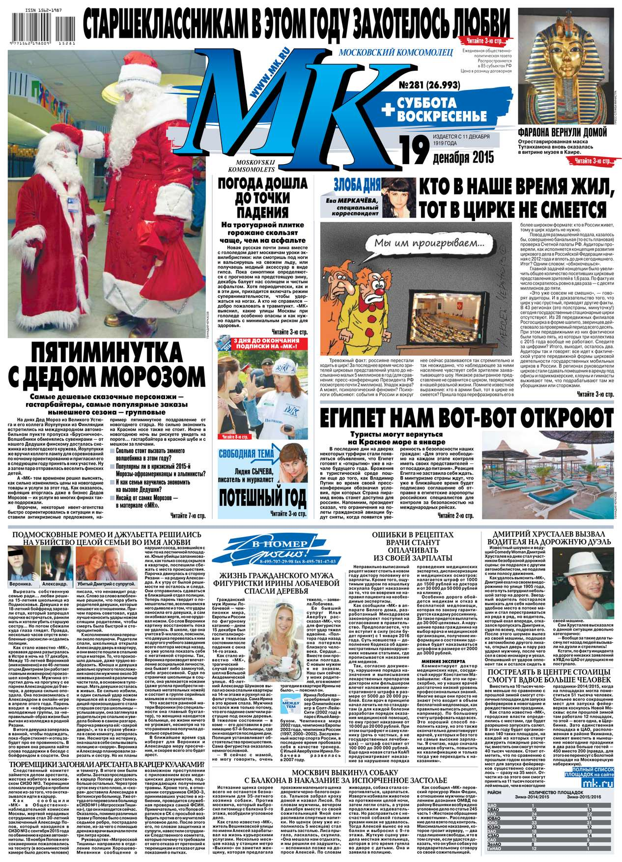 Редакция газеты МК Московский Комсомолец МК Московский Комсомолец 281-2015 цена 2017