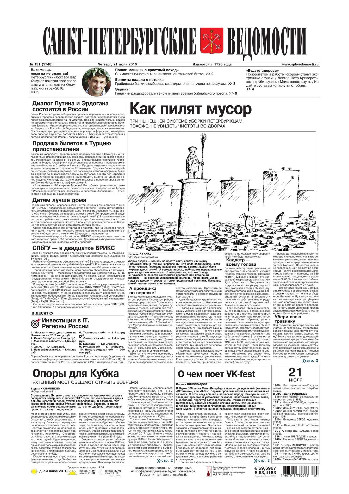 Редакция газеты Санкт-Петербургские ведомости Санкт-Петербургские ведомости 131-2016 шапка maximo