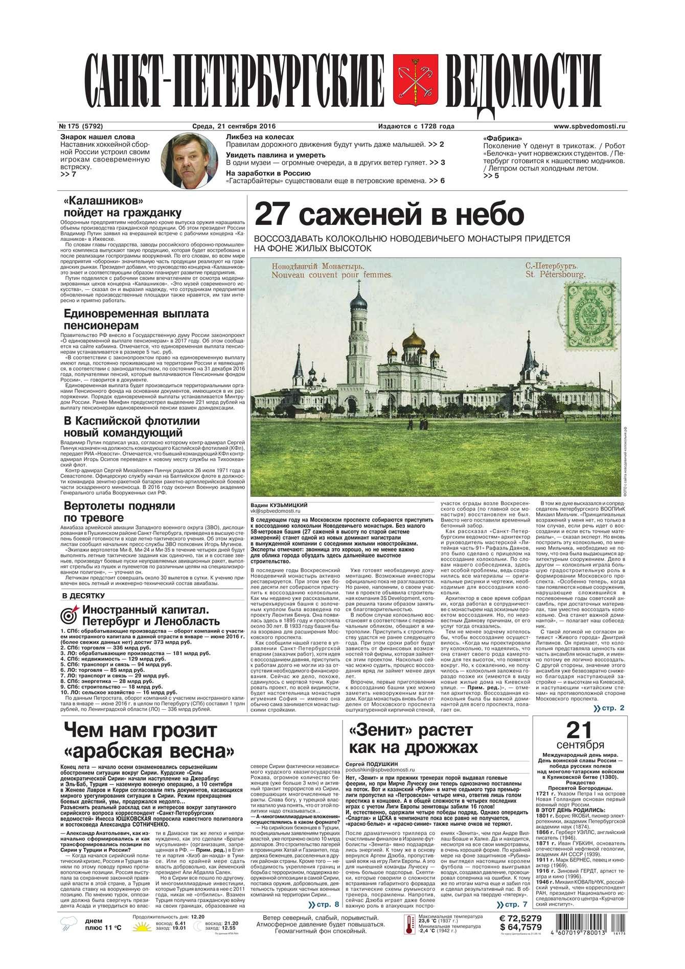 Санкт-Петербургские ведомости 175-2016