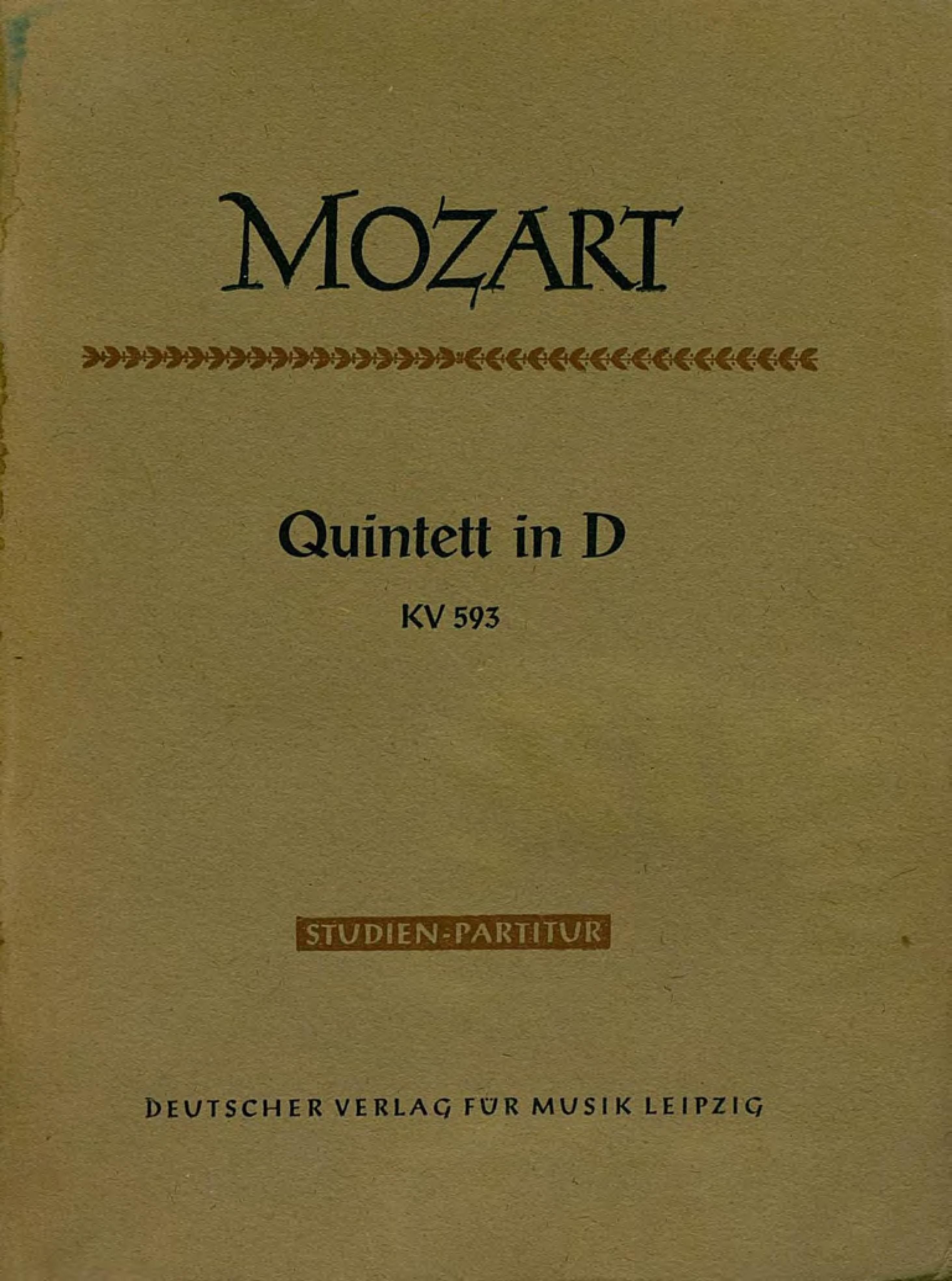 Вольфганг Амадей Моцарт Quintett in D fur 2 Violinen, 2 Violen und Violoncello джузеппе верди quartett fur 2 violinen viola und violoncell v g verdi e moll