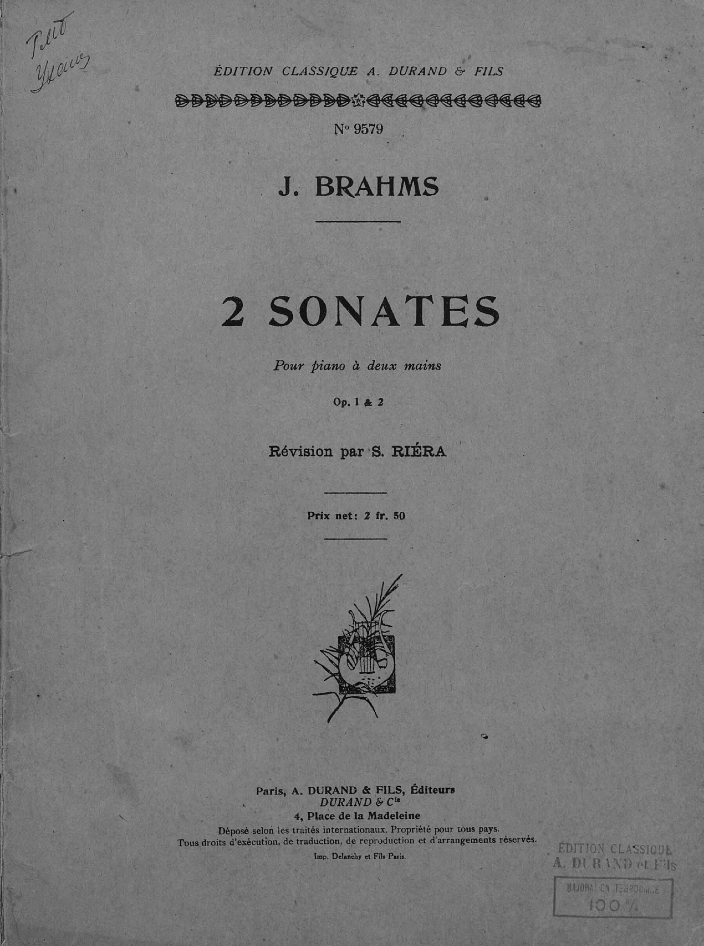 Иоганнес Брамс 2 Sonates various boccherini luigi sonates