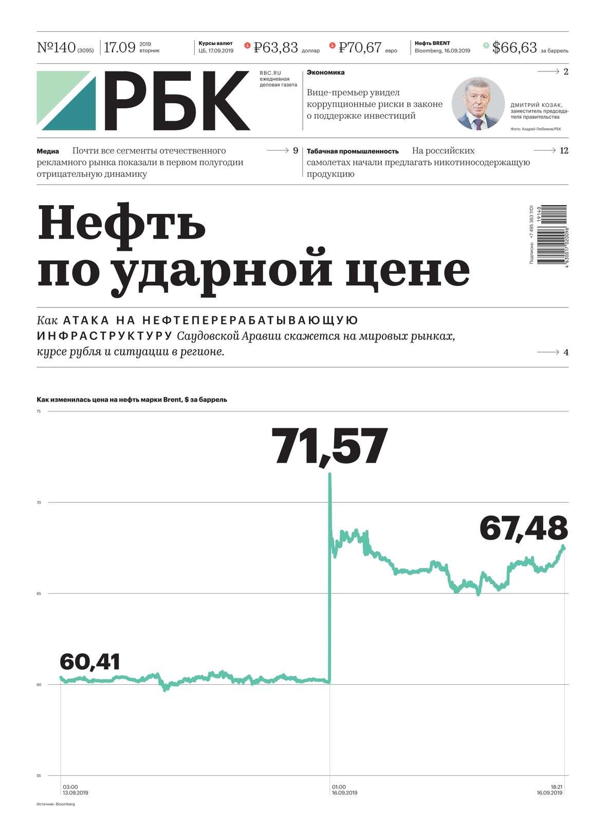 Ежедневная Деловая Газета Рбк 140-2019