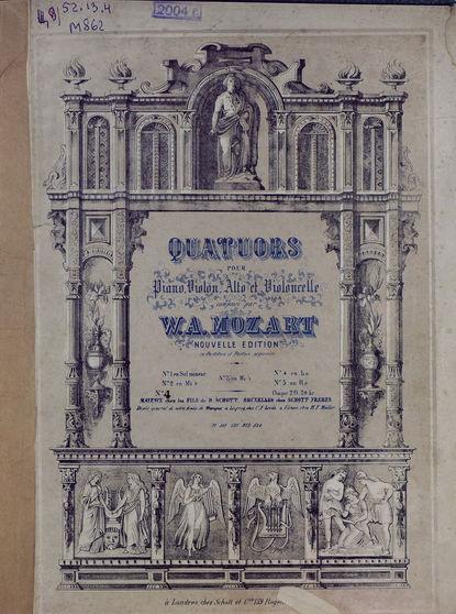 Вольфганг Амадей Моцарт Quatuor № 4 pour Piano, Violon, Alto et Violoncelle composes par W. A. Mozart w a mozart symphony no 40 41