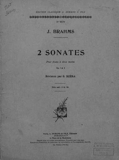Иоганнес Брамс 2 Sonates недорого