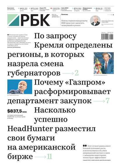Обложка «Ежедневная Деловая Газета Рбк 62-2019»